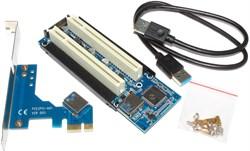 Переходник (адаптер, райзер) с PCI-E 1x на 2 слота PCI 32 bit