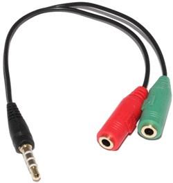 Переходник - разветвитель Mini Jack 3.5 мм 4pin на микрофон и наушники 2 x Mini Jack 3.5мм