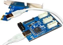 Разветвитель PCI-E на 3 порта (спилиттер, хаб), 1 x PCI-E 1x на 3 x PCI-E 1x
