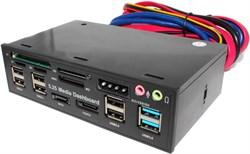 "Картридер внутренний (панель), 5.25"", USB, CF, MicroSD, M2, SD, MMC, SATA, eSATA, Audio, Molex"