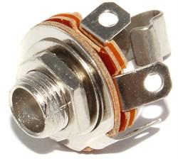 """Разъем Jack 6.3 мм, 1/4"""", металлический, на корпус, моно, """"гнездо"""", с гайкой"""