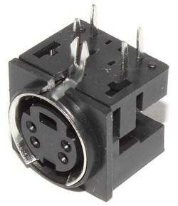 """Разъём S-Video (Mini-DIN) 4 pin """"гнездо"""", на плату (под пайку)"""