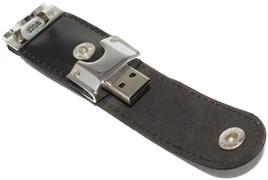 """Флешка USB оригинальная """"брелок"""", кожа, черная, 32Gb"""