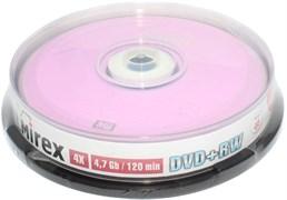 Диски для записи (болванки), DVD+RW, 4.7 Gb, 4x, Mirex, упаковка 10 штук