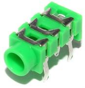 """Разъем Mini Jack 3.5 мм, на плату, стерео, """"гнездо"""", зелёный"""