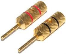 """Разъём акустический """"банан"""" 2 мм, """"штекер"""", позолоченный, на кабель, 2 штуки"""