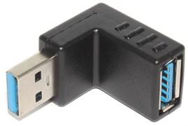 """Угловой переходник USB 3.0 AM """"папа"""" - USB 3.0 AF """"мама"""", 90 градусов, повёрнут вверх"""