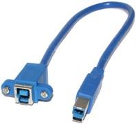 """Удлинитель USB 3.0 Type B (BF) """"мама"""" - USB 3.0 Type B (BM) """"папа"""", 0.3 м, с креплением"""